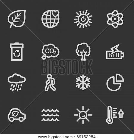Green ecology web icon set 2, grey set