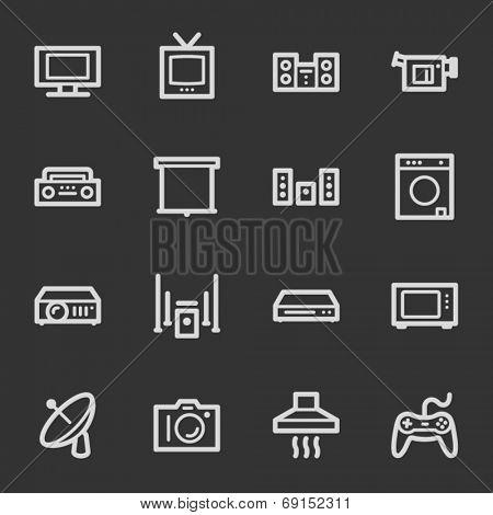 Home Appliance web icons, grey set