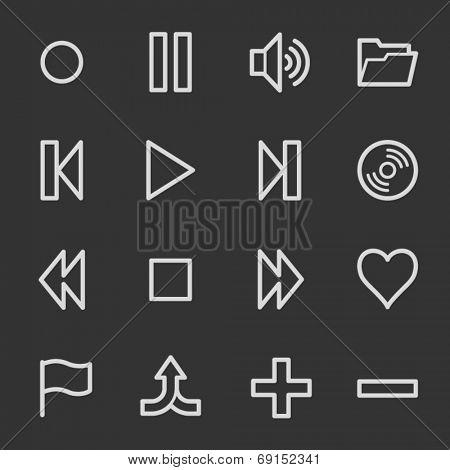 Media player web icons, grey set