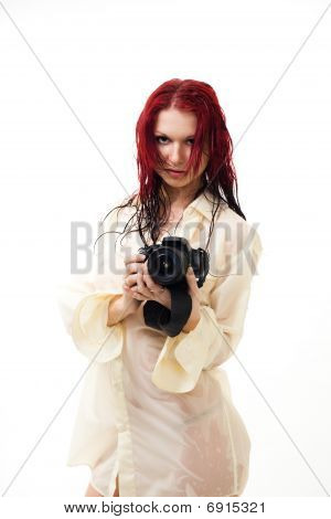 Attractive Woman With Camera
