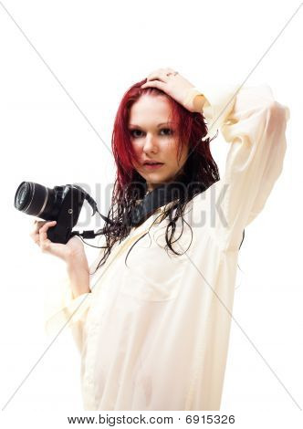Attractive Woman With Photo Camera