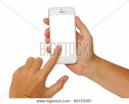 hands holding a modern smartphone