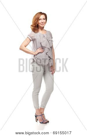 Adult woman full body standing on white background