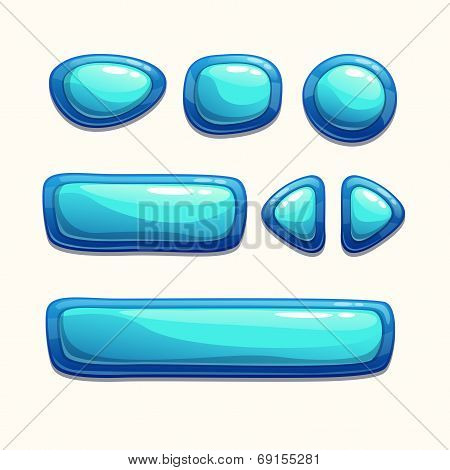 Set of cartoon blue buttons