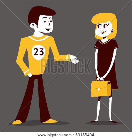 Meeting guy athlete and student girl talking pupil characters on Stylish Background Retro Cartoon De