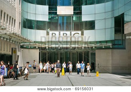 LONDON, UK - JUNE 3, 2014: BBC head office and square in frond of main entrance