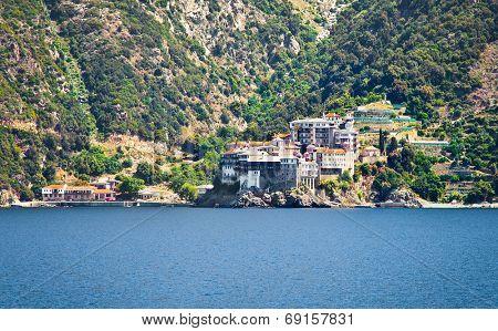 Dionisiou Monastery on Mount Athos, Halkidiki, Greece.