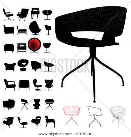 modern chair silhouette set