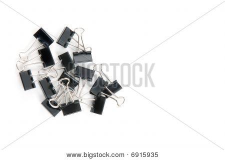 Clips de carpeta aislados en blanco.
