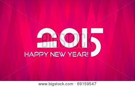 Abstract Minimalistic Flat Happy New Year 2015 Banner with Geometric Background in Shades of Red and