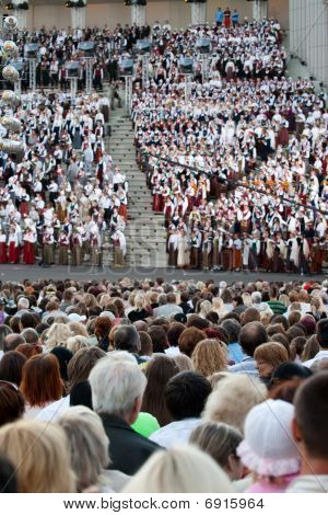 Audience Of Song And Dance Festival Concert In Riga