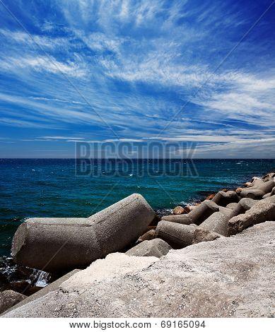 Breakwater in the Puerto Banus in Marbella, Spain