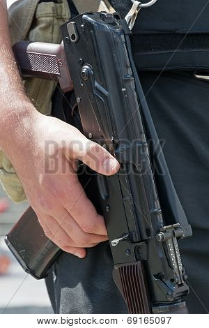 Kalashnikov Machine Gun In The Hands Of Ukrainian Policeman.