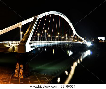 Modern White Bridge by Night