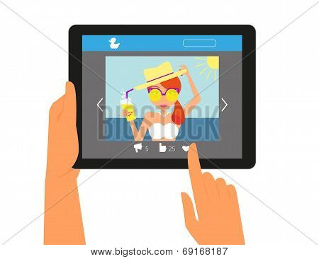 Tablet pc displaying the page in social networking with a picture of redhair woman