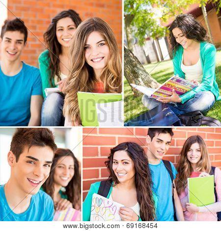 Students In School Campus
