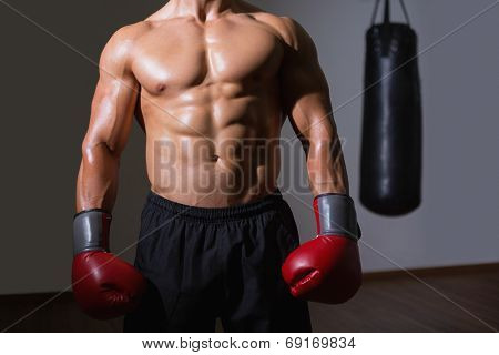 Mid section of a shirtless muscular boxer standing in health club