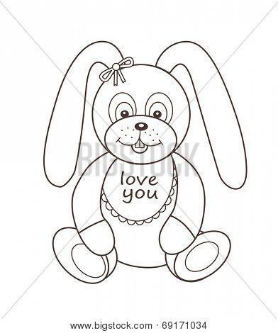 Cute plush toy bunny (vector illustration)
