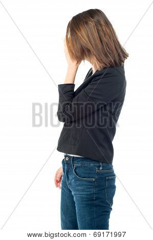 Depressed Woman Hiding Her Face