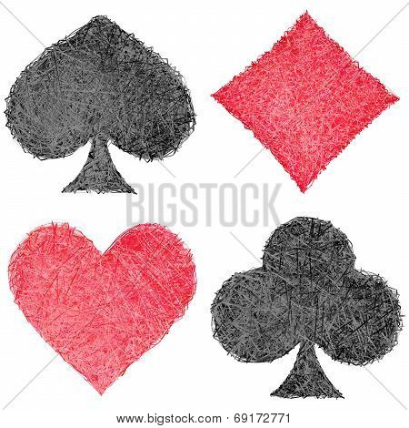 Set Of Playing Card Symbols Composed Of Striplines