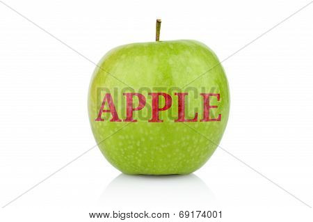 Studio Shot Of Green Apple With Inscription Apple Isolated