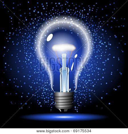 neon glowing lightbulb with sparkle