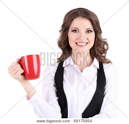 Young business woman with cup isolated on white