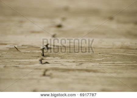 Weathered Wooded Boards With Nails