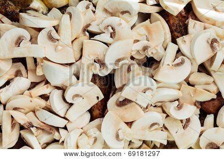 Food. Roasted Chicken Meat With Mushrooms