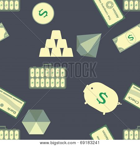 Bank, money, dollar. Illustration with bank characters.