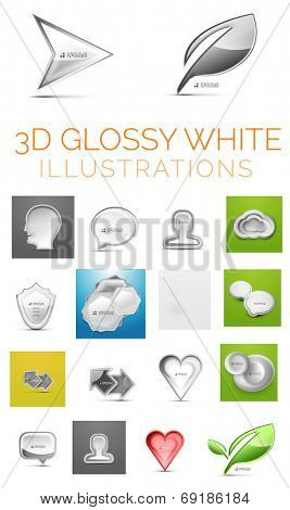 Vector 3d glossy white illustrations - head and speech bubble and person and cloud, and shield and hexagon background and arrow composition and heart icon and round shapes and eco green leaf plant