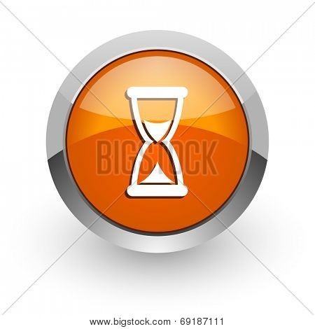 time orange glossy web icon