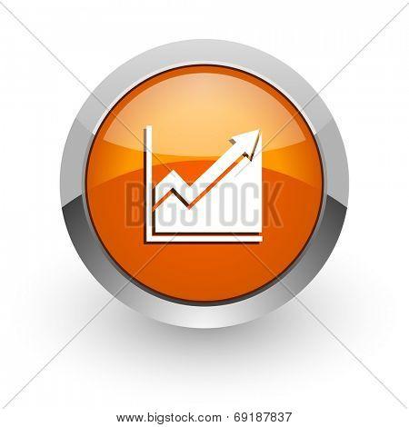 histogram orange glossy web icon