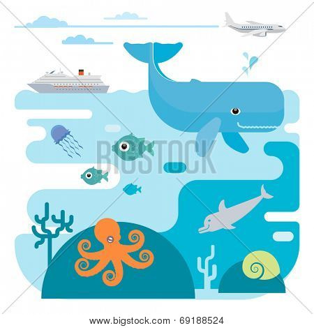 Illustration of whale, fish, jellyfish, octopus, dolphin and ship. Illustration of whale, fish, jellyfish, octopus, dolphin and ship.