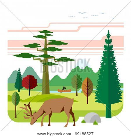 Landscape with mountains, wood, deer and river. Landscape with mountains, wood, deer and river.