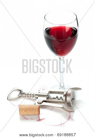 Red wine glass, cork and corkscrew. Isolated on white background