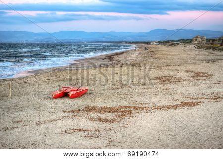 Lifeboat At Dusk