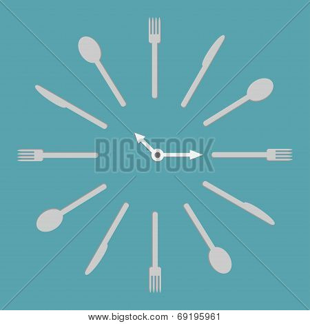Fork Knife Spoon Round Clock. Menu Cover Template. Flat Design