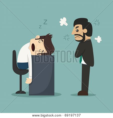 Businessman Sleeping At His Office Desk