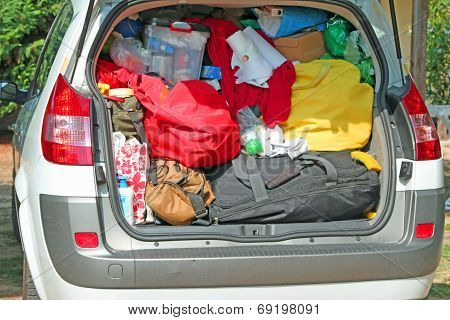 Trunk Overloaded With Bags And Bags For Family Summer Holidays