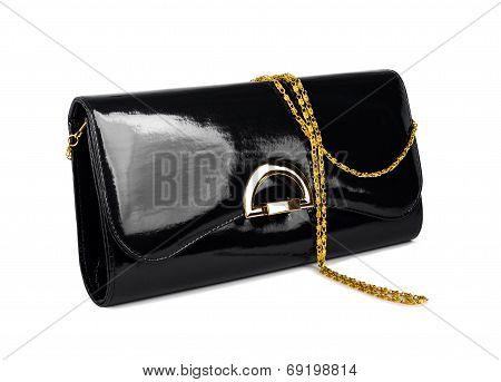 Elegant Ladies Black Handbag Isolated On White Background