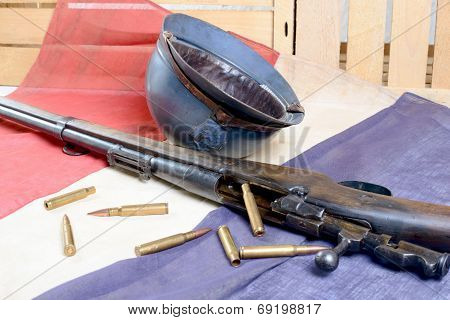 French Helmet Of The First World War With A Gun On French Flag