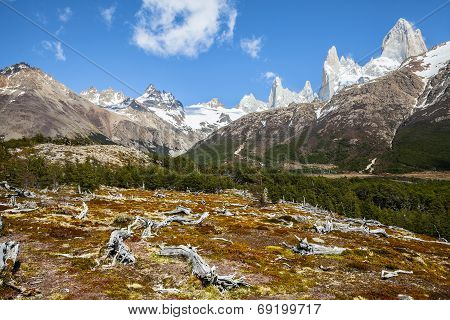 Fitz Roy Mountain Range, Andes In Patagonia, Argentina