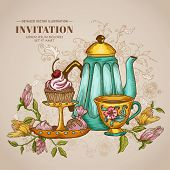 foto of teapot  - Vintage Menu or Invitation Card  - JPG
