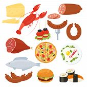 pic of sausage  - Set of traditional vector food icons for a menu with a lobster  salami  pizza  cheeseburger  roast meat  fried eggs  sausage  fish  sushi  seafood  cheese and canape appetizers - JPG