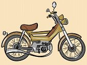 picture of outdated  - Outdated model of a moped painted in a color retro - JPG