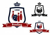 stock photo of bowling ball  - Three different bowling badges or emblems with pins and a bowling ball inside a shield with a ribbon banner containing the text  - JPG