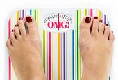 image of anorexia  - Feet on bathroom scale with word  - JPG