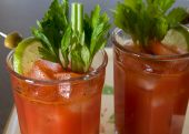 stock photo of bloody mary  - close up shot of two Bloody Marys with garnishes - JPG