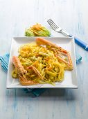 foto of norway lobster  - pasta with norway lobster zucchinis flower and saffron - JPG